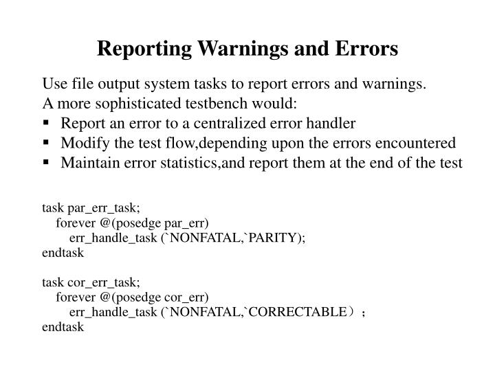 Reporting Warnings and Errors