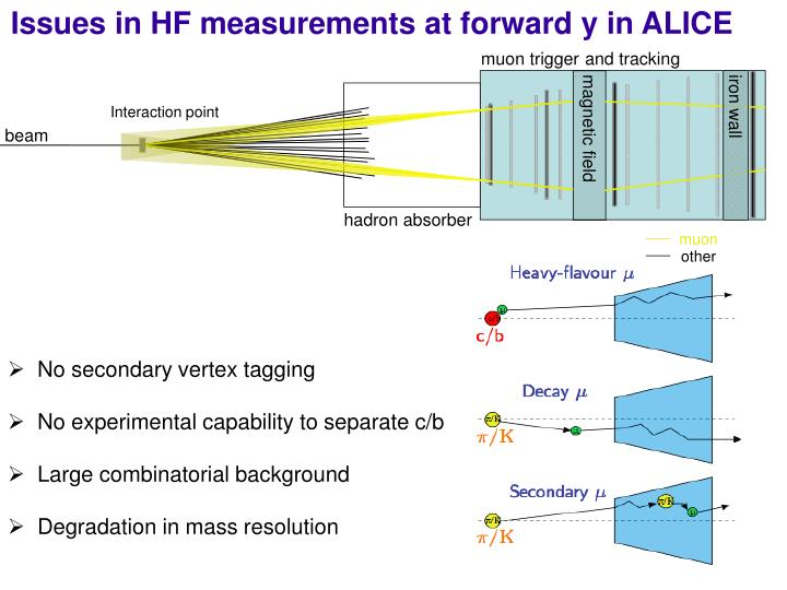 Issues in HF measurements at forward y in ALICE