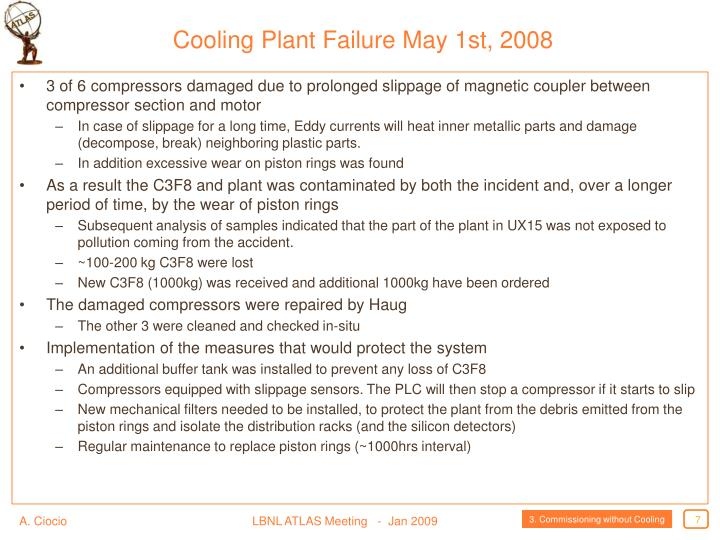 Cooling Plant Failure May 1st, 2008