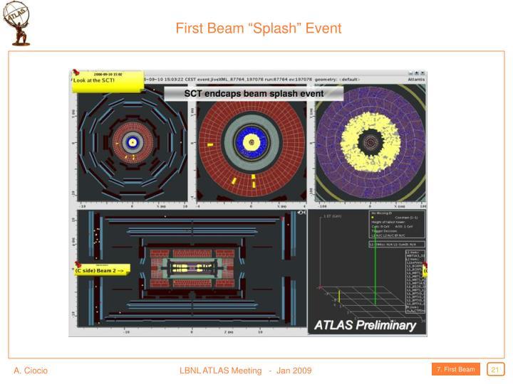 """First Beam """"Splash"""" Event"""