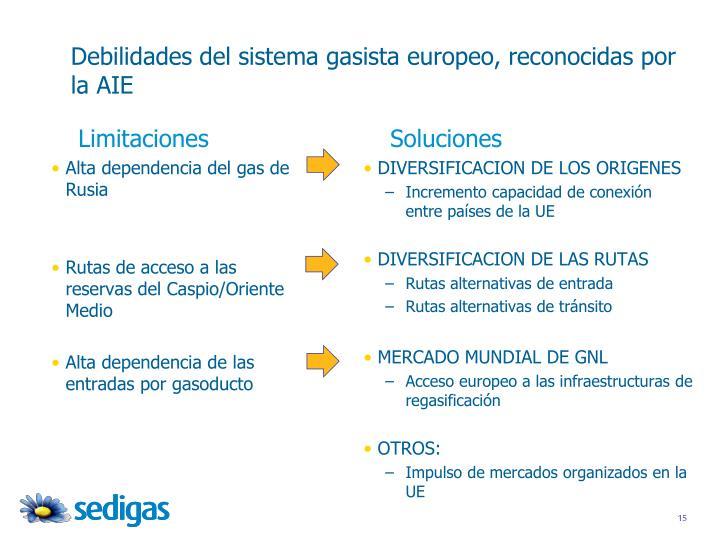 Debilidades del sistema gasista europeo, reconocidas por la AIE