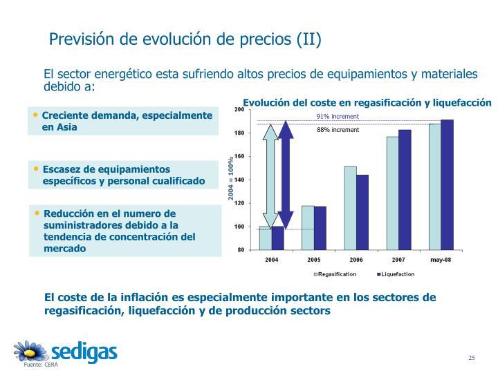Evolución del coste en regasificación y liquefacción