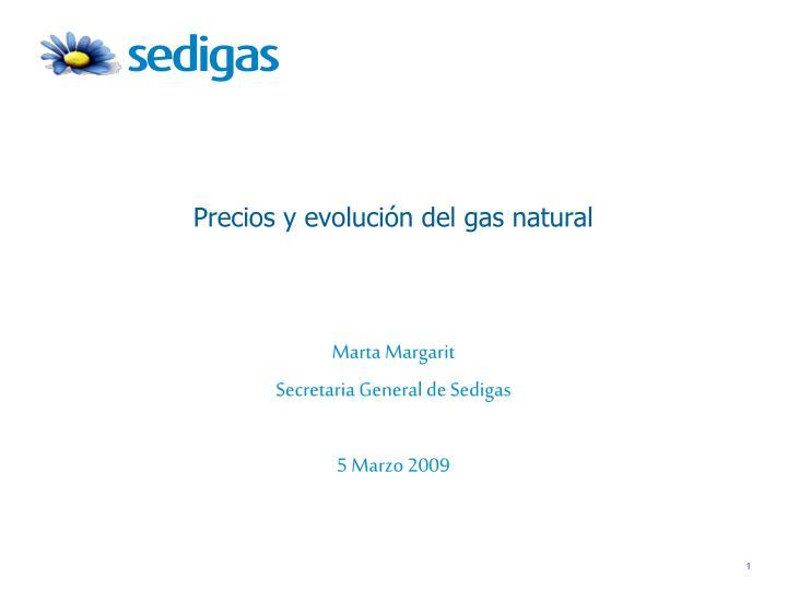 Precios y evolución del gas natural
