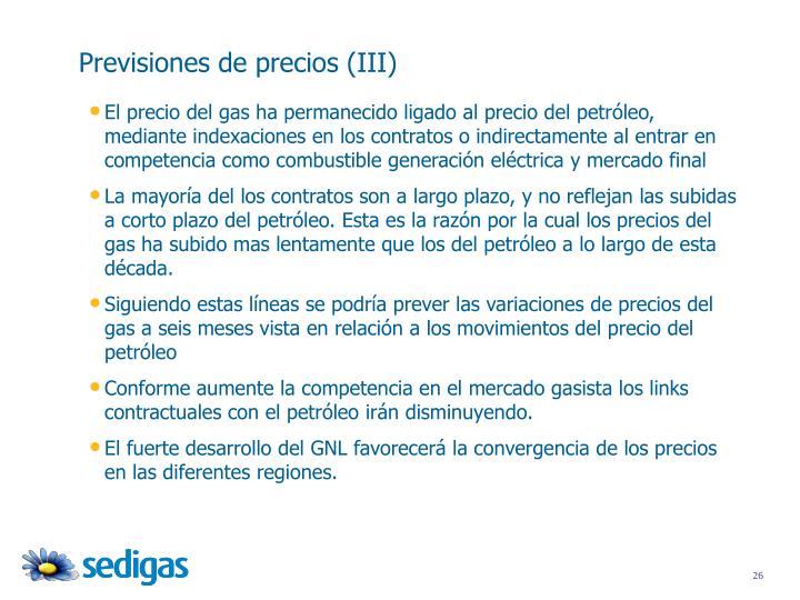 Previsiones de precios (III)