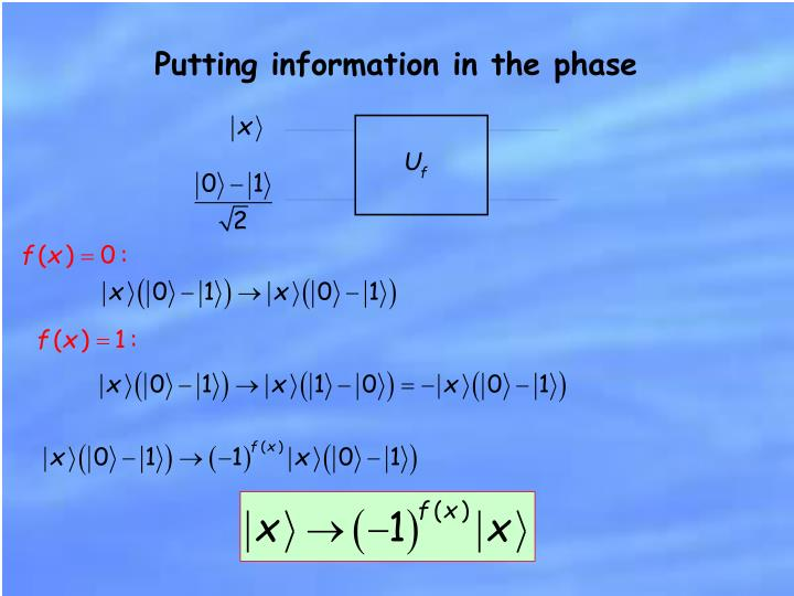 Putting information in the phase