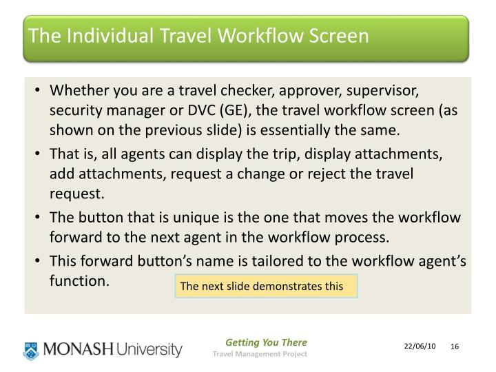 The Individual Travel Workflow Screen