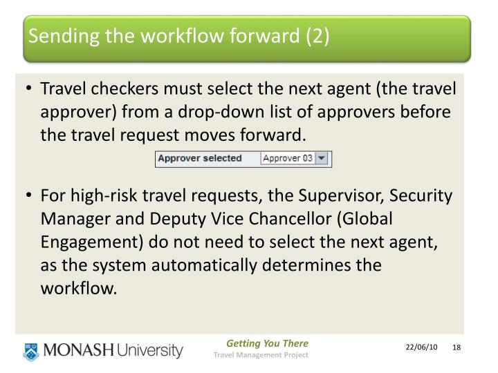Sending the workflow forward (2)