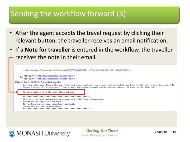 Sending the workflow forward (3)