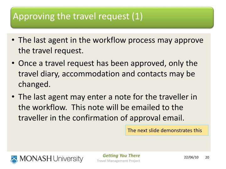 Approving the travel request (1)