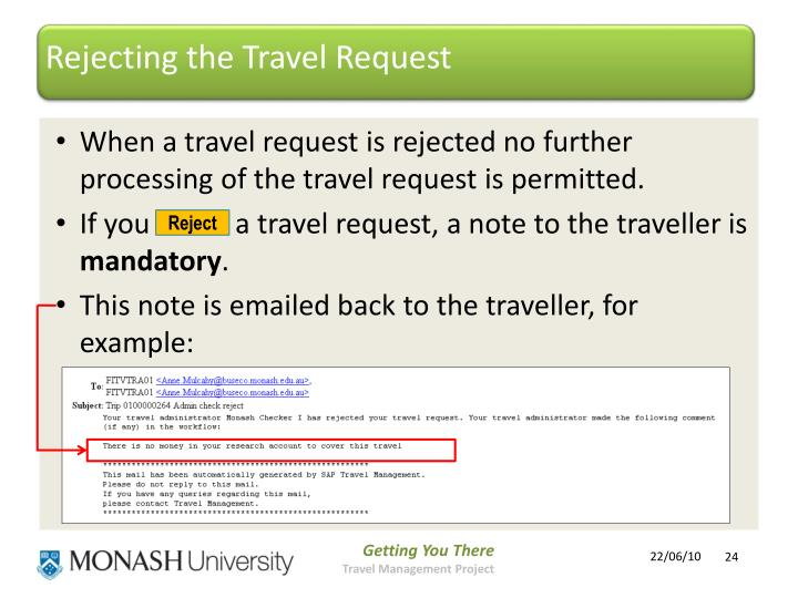 Rejecting the Travel Request
