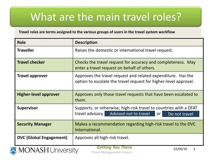 What are the main travel roles?