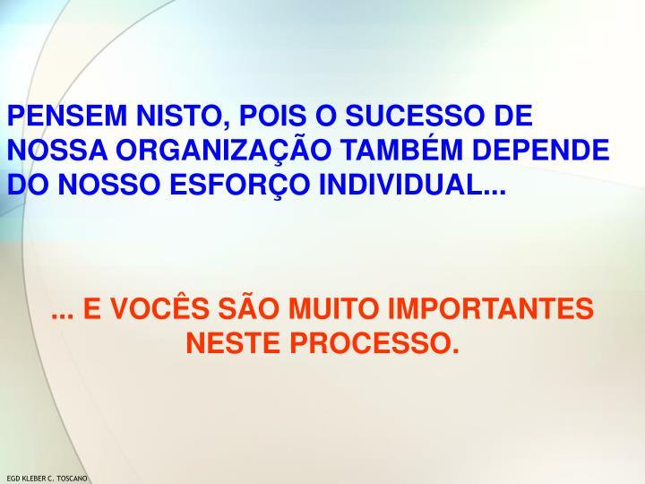 PENSEM NISTO, POIS O SUCESSO DE NOSSA ORGANIZAÇÃO TAMBÉM DEPENDE DO NOSSO ESFORÇO INDIVIDUAL...