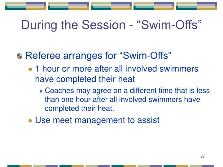 "During the Session - ""Swim-Offs"""