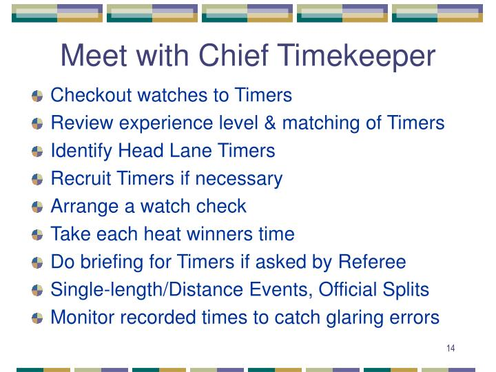 Meet with Chief Timekeeper