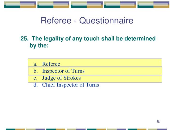 Referee - Questionnaire