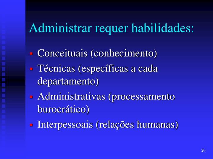 Administrar requer habilidades: