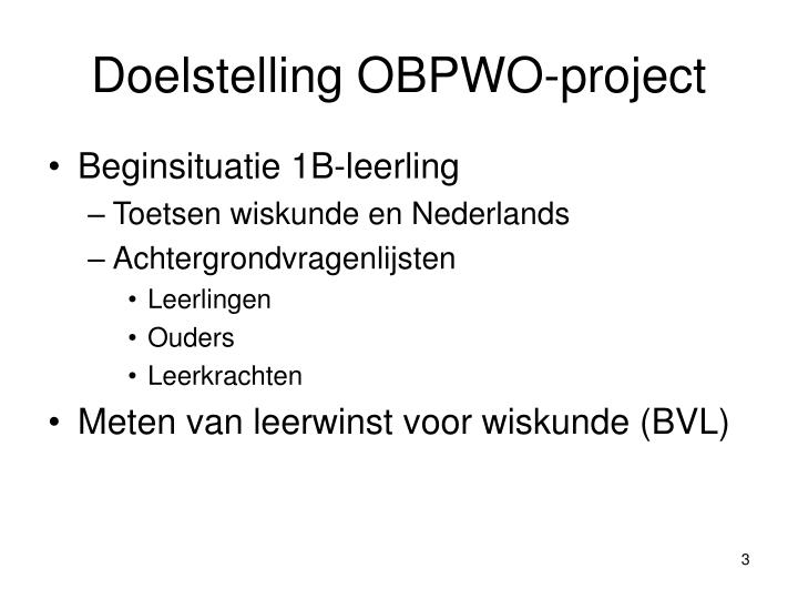 Doelstelling obpwo project