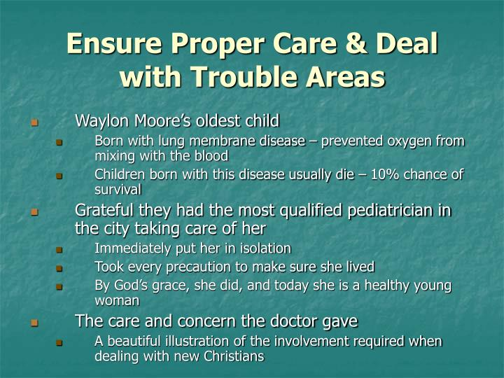 Ensure Proper Care & Deal with Trouble Areas