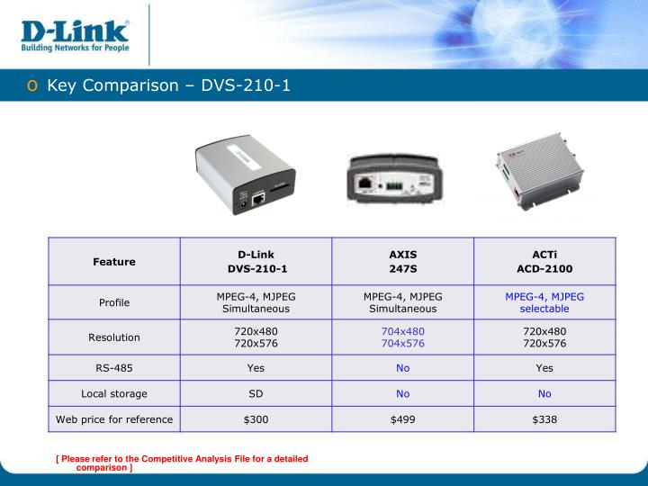 Key Comparison – DVS-210-1