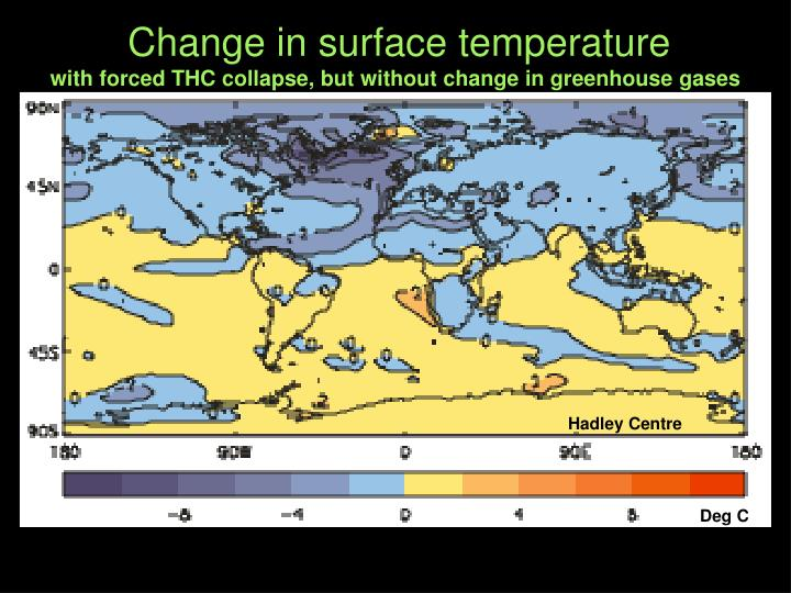 Change in surface temperature