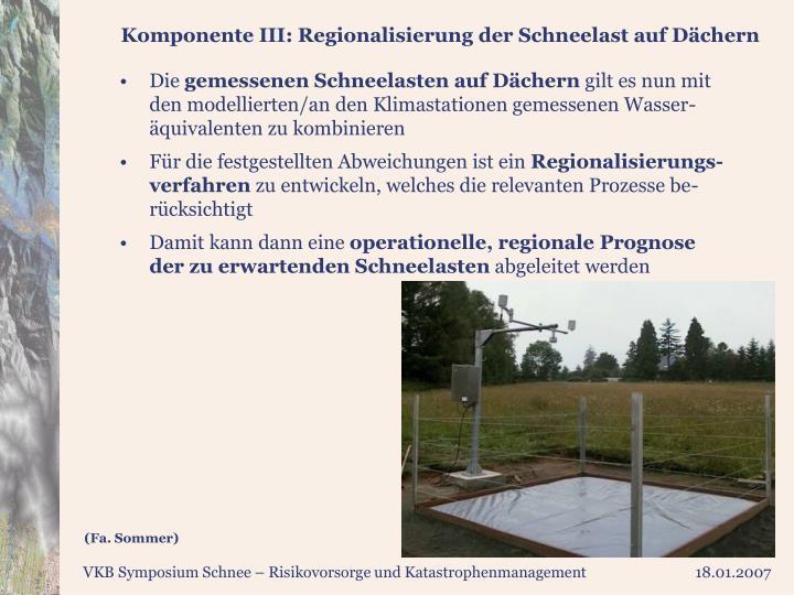 Komponente III: Regionalisierung der Schneelast auf Dächern