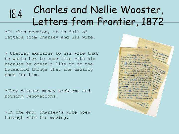 Charles and Nellie Wooster, Letters from Frontier, 1872