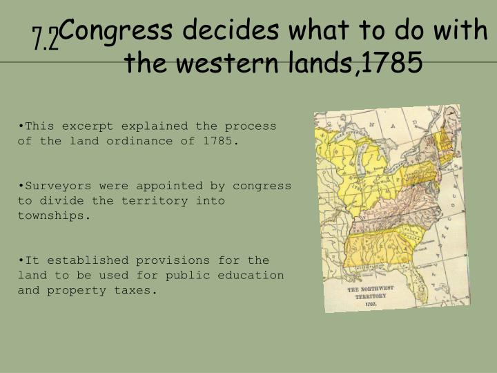 Congress decides what to do with the western lands 1785