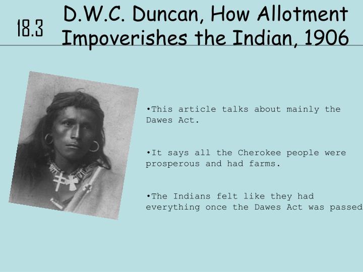 D.W.C. Duncan, How Allotment