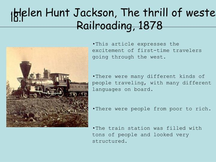 Helen Hunt Jackson, The thrill of western Railroading, 1878