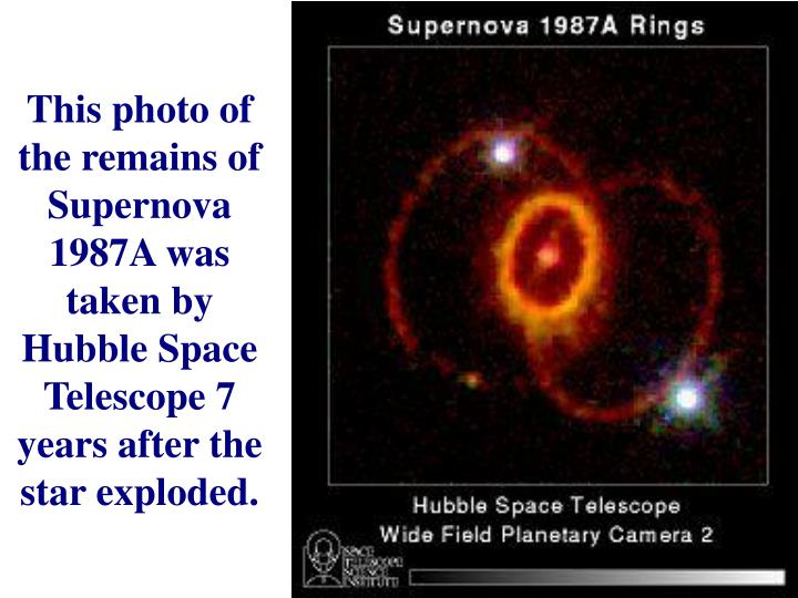 This photo of the remains of Supernova 1987A was taken by Hubble Space Telescope 7 years after the star exploded.