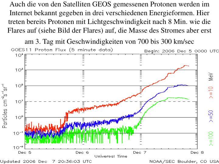 Auch die von den Satelliten GEOS gemessenen Protonen werden im Internet bekannt gegeben in drei verschiedenen Energieformen. Hier treten bereits Protonen mit Lichtgeschwindigkeit nach 8 Min. wie die Flares auf (siehe Bild der Flares) auf, die Masse des Stromes aber erst am 3. Tag mit Geschwindigkeiten von 700 bis 300 km/sec