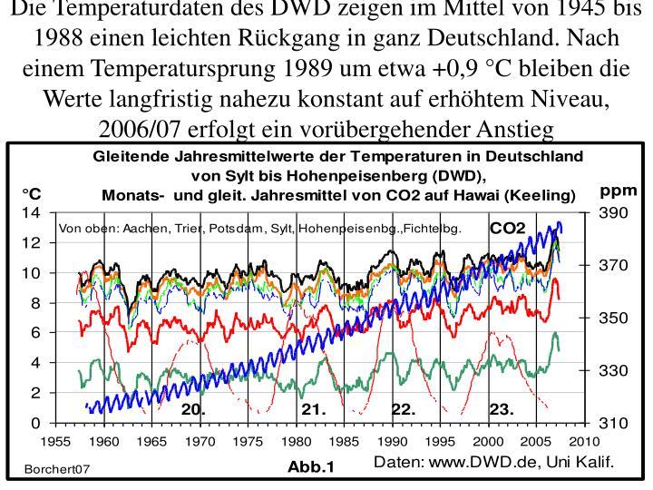Die Temperaturdaten des DWD zeigen im Mittel von 1945 bis 1988 einen leichten Rückgang in ganz Deutschland. Nach einem Temperatursprung 1989 um etwa +0,9 °C bleiben die Werte langfristig nahezu konstant auf erhöhtem Niveau, 2006/07 erfolgt ein vorübergehender Anstieg
