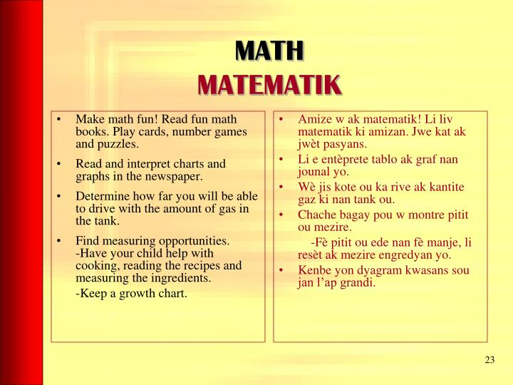 Make math fun! Read fun math books. Play cards, number games and puzzles.