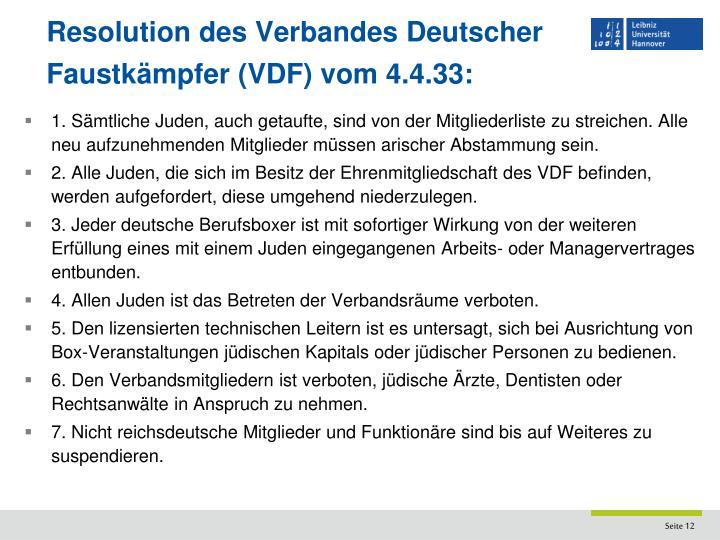Resolution des Verbandes Deutscher Faustkämpfer (VDF) vom 4.4.33: