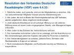 resolution des verbandes deutscher faustk mpfer vdf vom 4 4 33