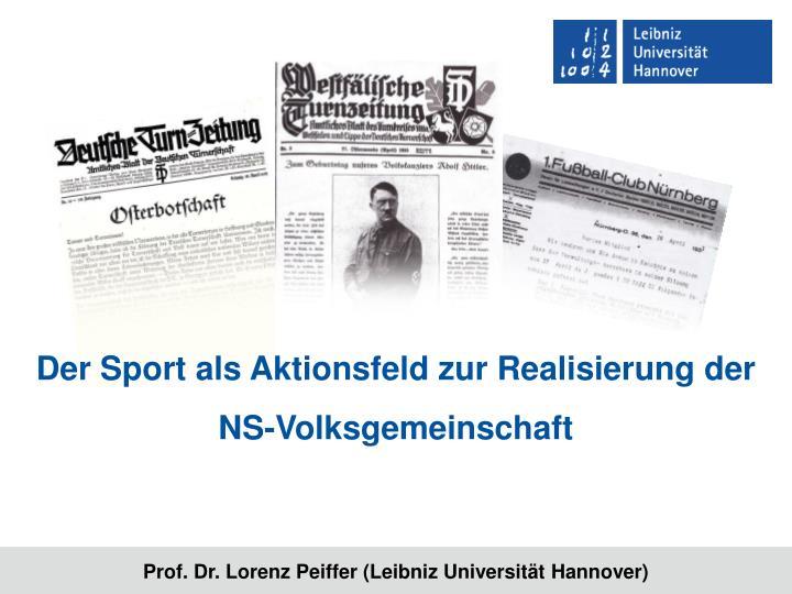 Der Sport als Aktionsfeld zur Realisierung der NS-Volksgemeinschaft