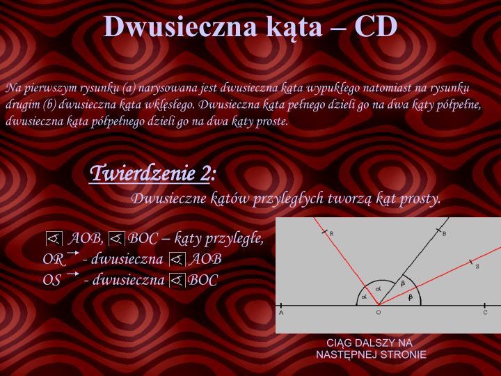 Dwusieczna kąta – CD