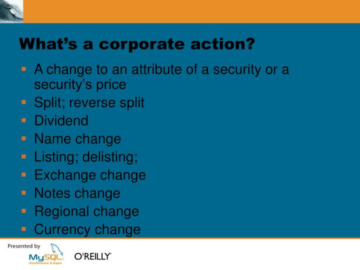 What's a corporate action?