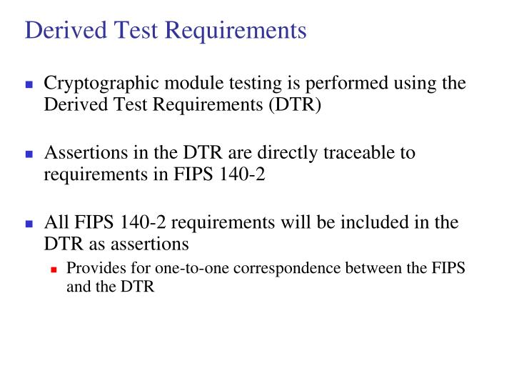 Derived Test Requirements
