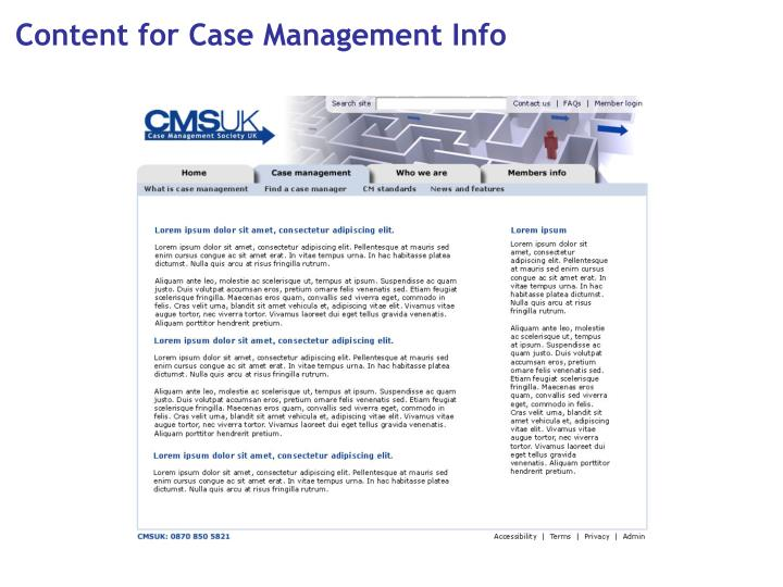 Content for Case Management Info