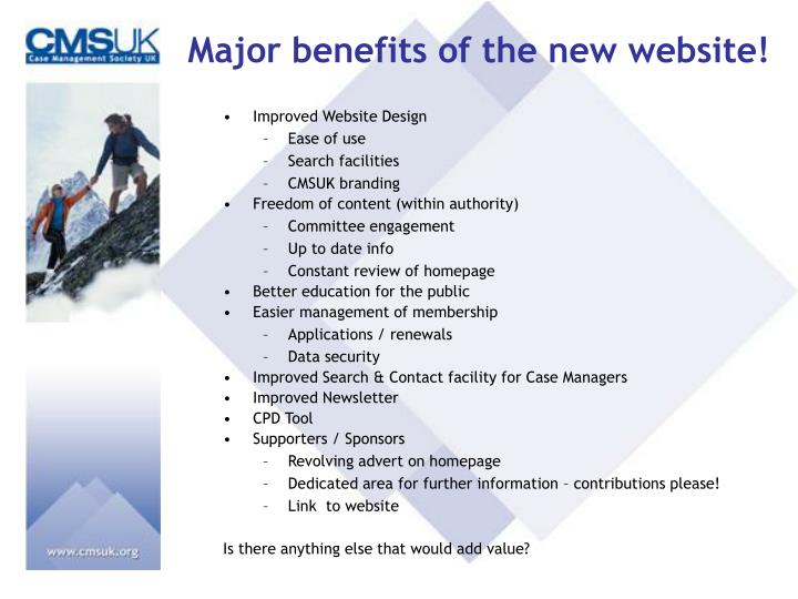 Major benefits of the new website!