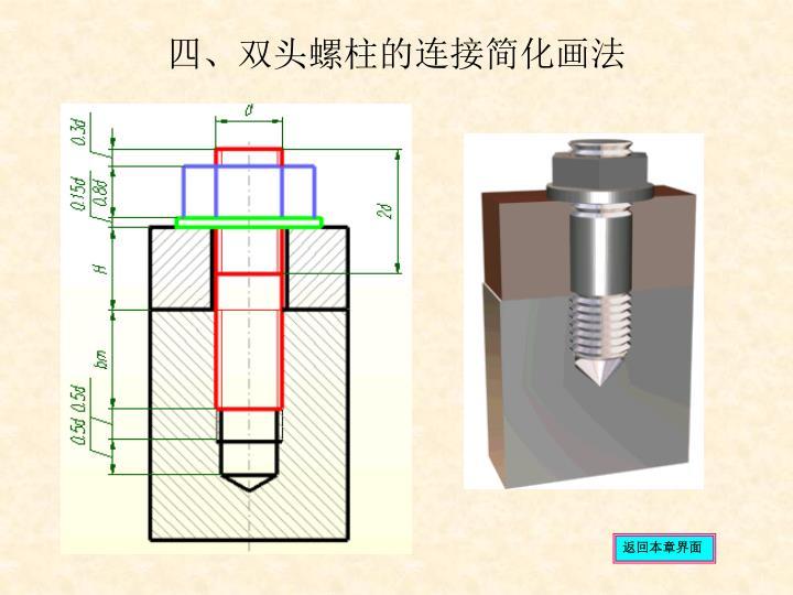 四、双头螺柱的连接简化画法