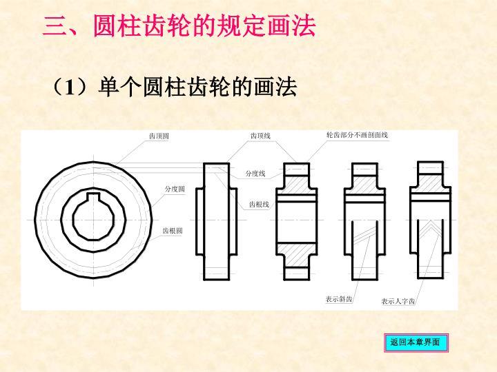 三、圆柱齿轮的规定画法
