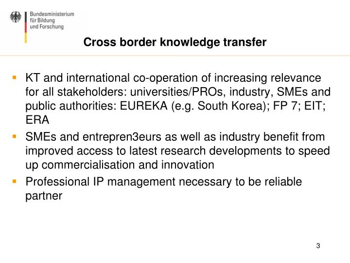 Cross border knowledge transfer