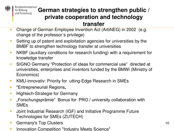 German strategies to strengthen public / private cooperation and technology transfer