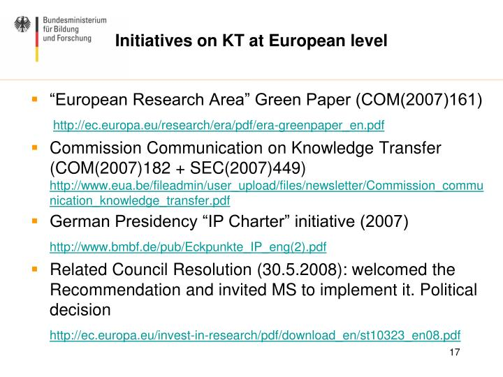 Initiatives on KT at European level