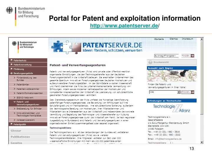 Portal for Patent and exploitation information