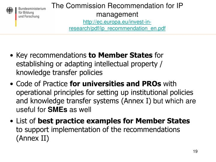 The Commission Recommendation