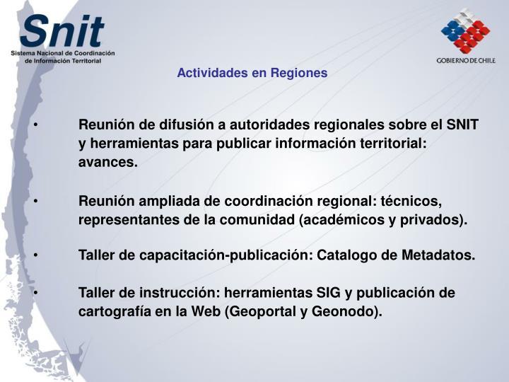 Actividades en Regiones