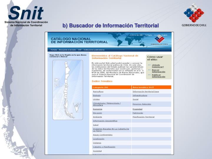 b) Buscador de Información Territorial